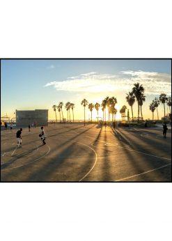 Basketboll In Sunset On Venice Beach