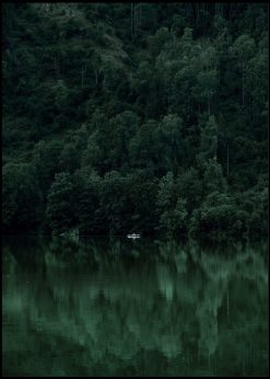 Boat In Lake With Green Forest