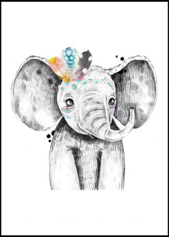 Cute Elephant With Colorful Feathers