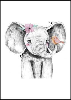 Cute Elephant With A Bird