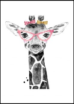 Cute Giraffe With Glasses Painting
