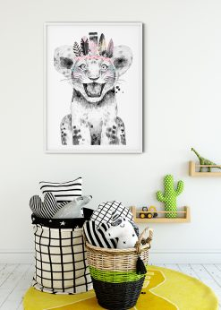 Cute Lion Baby With Feathers Painting