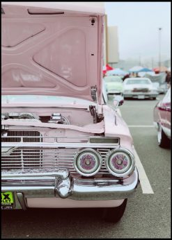 Classic White And Pink Car