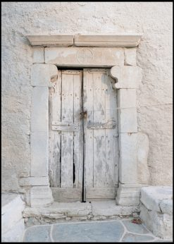 Old Wooden Door in White Setting