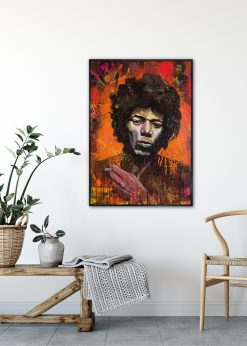 Jimi Hendrix Red by Didier Chastan